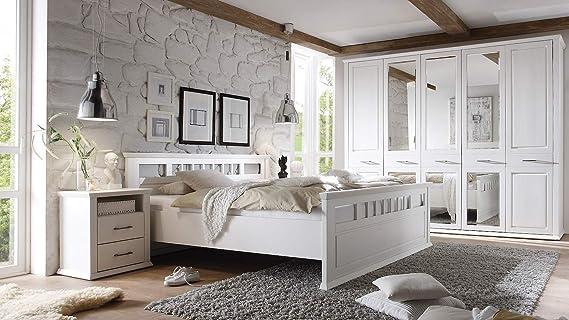 Mobel Akut Schlafzimmer Set Landhaus Emma Schrank Doppelbett Nachtkommoden Kiefer Weiss Amazon De Kuche Haushalt