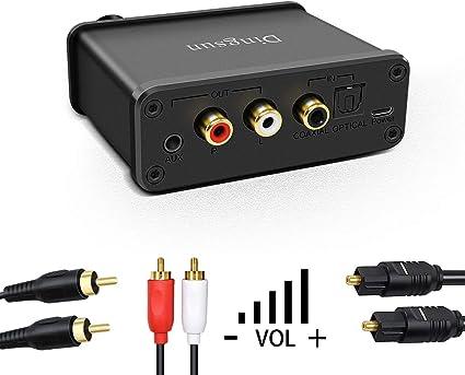 Convertidor de Audio Digital a analógico Toslink óptico Digital de Entrada coaxial a RCA Adaptador de Audio AUX 3,5 mm Jack/Auriculares Salidas Toslink Cable óptico Control de Volumen: Amazon.es: Electrónica