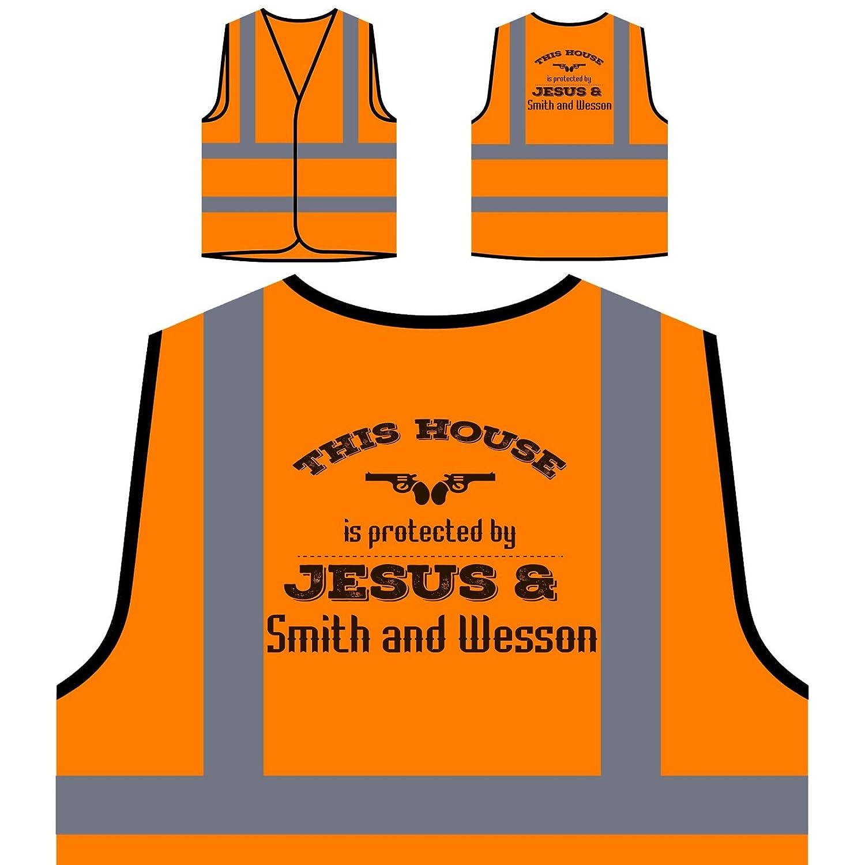 Cette Maison Est Protégée Par Jesus &Amp; Smith Et Wesson Veste de protection orange personnalisée à haute visibilité s353vo INNOGLEN