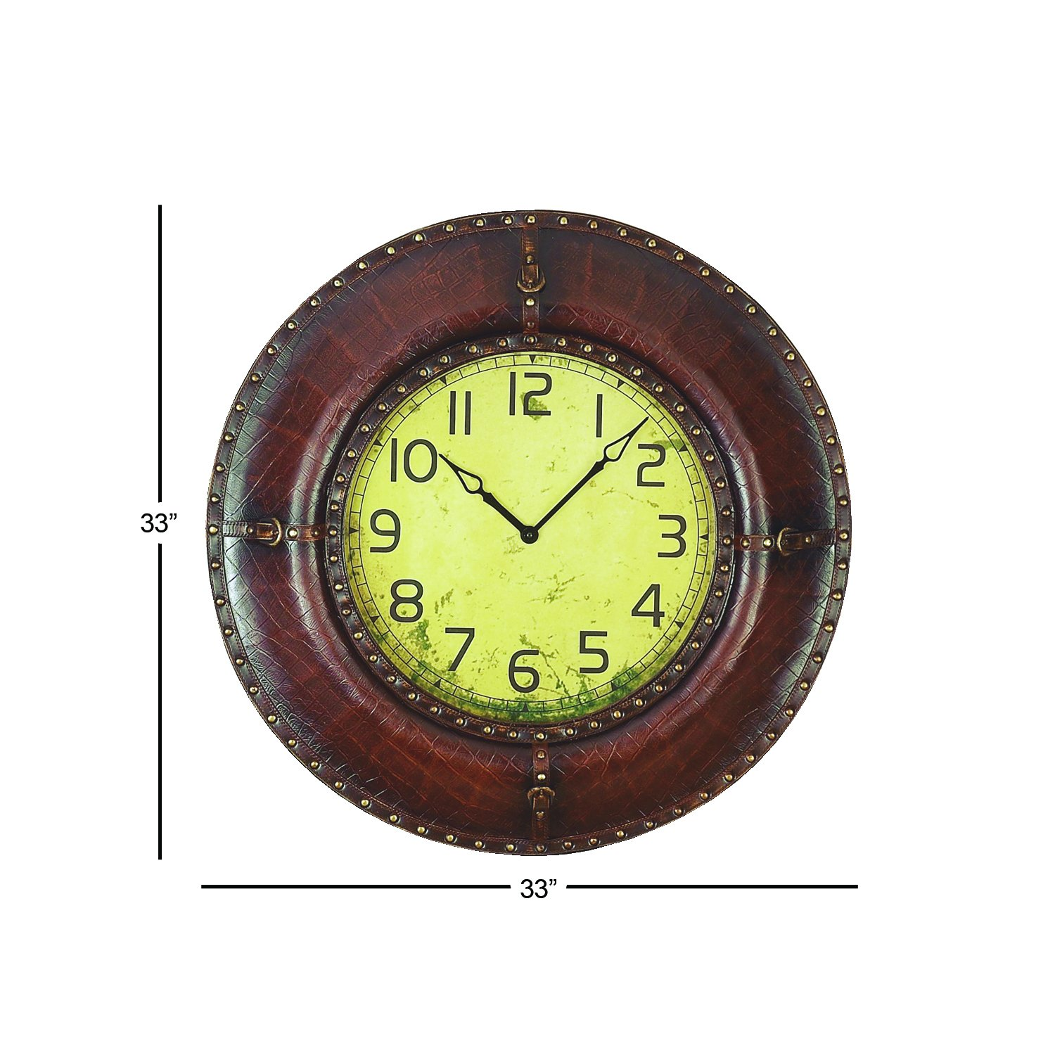 Deco 79 71952 Wood Leather Wall Clock, 33''