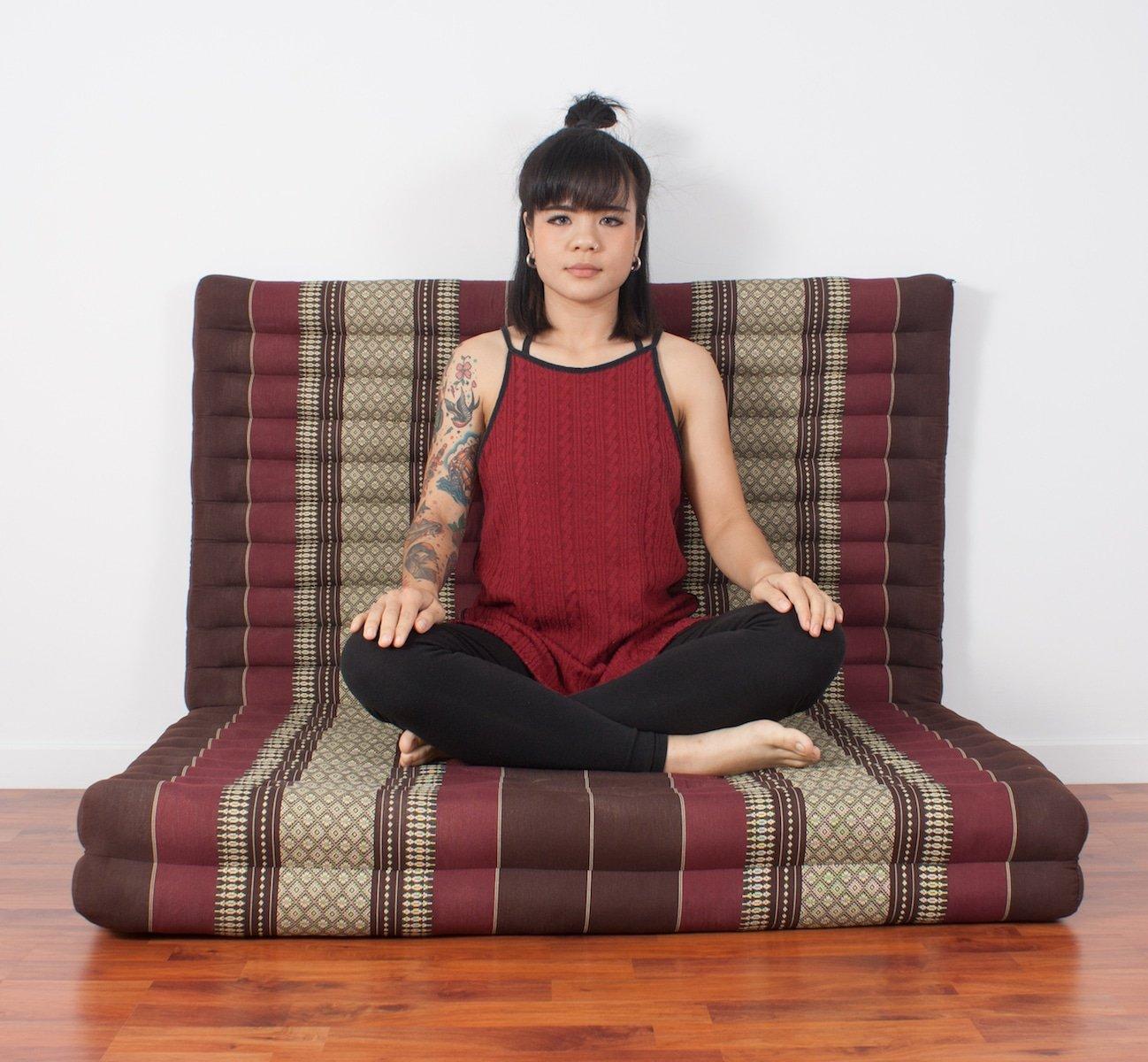 Leewadee Thai Massage Mat XL, 82x46x3 inches, Kapok, brown red by Leewadee (Image #5)