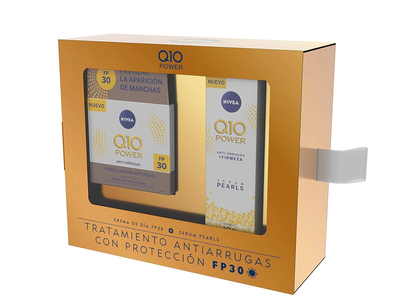 NIVEA Q10 Power Día FP30 1 x 50 ml y Serum Pearls 1 x 40 ml, tratamiento antiarrugas con protección FP30, caja de regalo con crema antiedad y sérum facial: Amazon.es