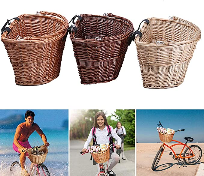 CLISPEED Bicycle Front Basket Cycling Wicker Basket Handlebar Storage Bag with Handle for Kids Adults Bike Outdoor Camping Shopping Brown