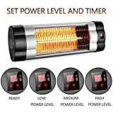 SURJUNY Patio Heater, Electric Wall-Mounted Outdoor Heater with LCD Display, Indoor/Outdoor Infrared Heater, 1500W Adjustable Thermostat, 3 Seconds Instant Warm, Waterproof IP34 Rated, W01