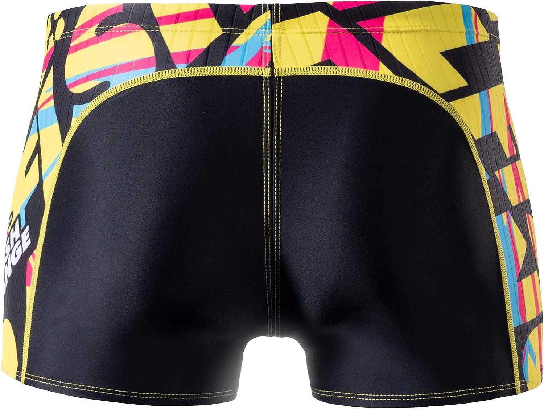 MY KILOMETRE Mens Square Leg Athletic Swim Jammers Durable Training Splice Swimsuit