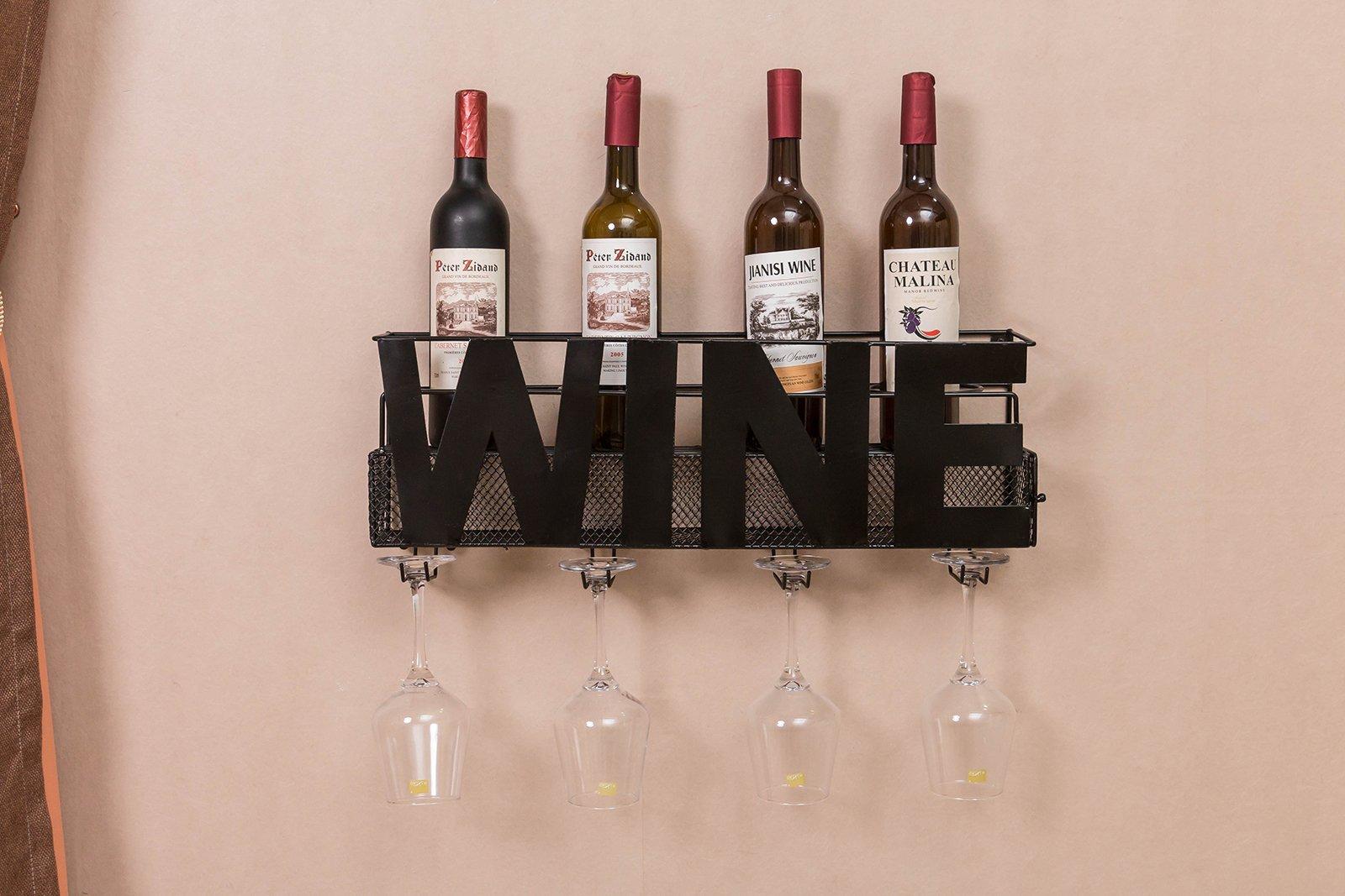 Metal Wine Glass Holder: Metal Wall Mount Wine Bottle Rack: Hold Wine Corks Wine