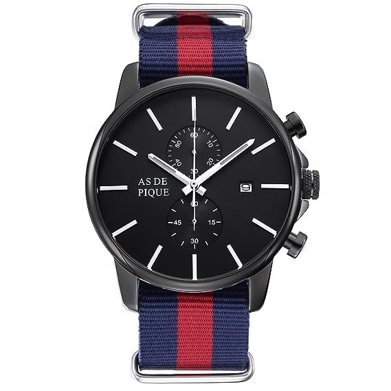 AS DE Pique Chrono para hombre Luxus reloj cronógrafo correa DE tela cronómetro FECHA 50 M resistente al agua Negro y azul y rojo: Amazon.es: Relojes