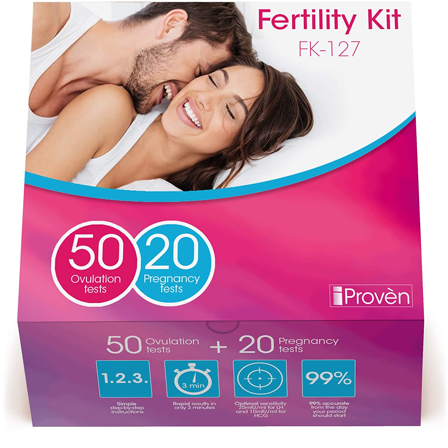 Ovulation Test Strips and Pregnancy Test Kit - 50 LH and 20 Hcg - OPK Ovulation Predictor Kit iProven FK-127 (50 LH & 20 Hcg) iProvèn