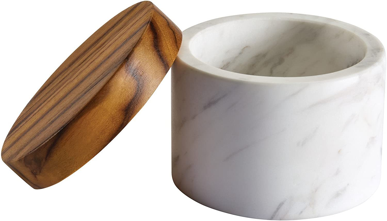 Amazon Com Anolon Pantryware Marble Salt Cellar With Teak Lid Marble Salt Box With Teak Lid 5 25 Ounce White Kitchen Dining