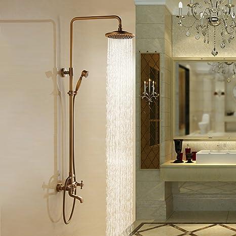 Lightinthebox Bathroom Shower System 8 Fixed Round Shower Head And Handheld Shower Head Antique Inspired Solid Brass Shower Set Shower Arm Bronze