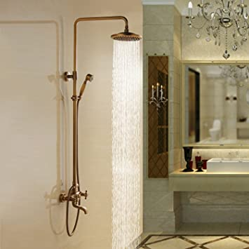 Lightinthebox Bathroom Shower System 8u0026quot; Fixed Round Shower Head And Handheld  Shower Head Antique Inspired