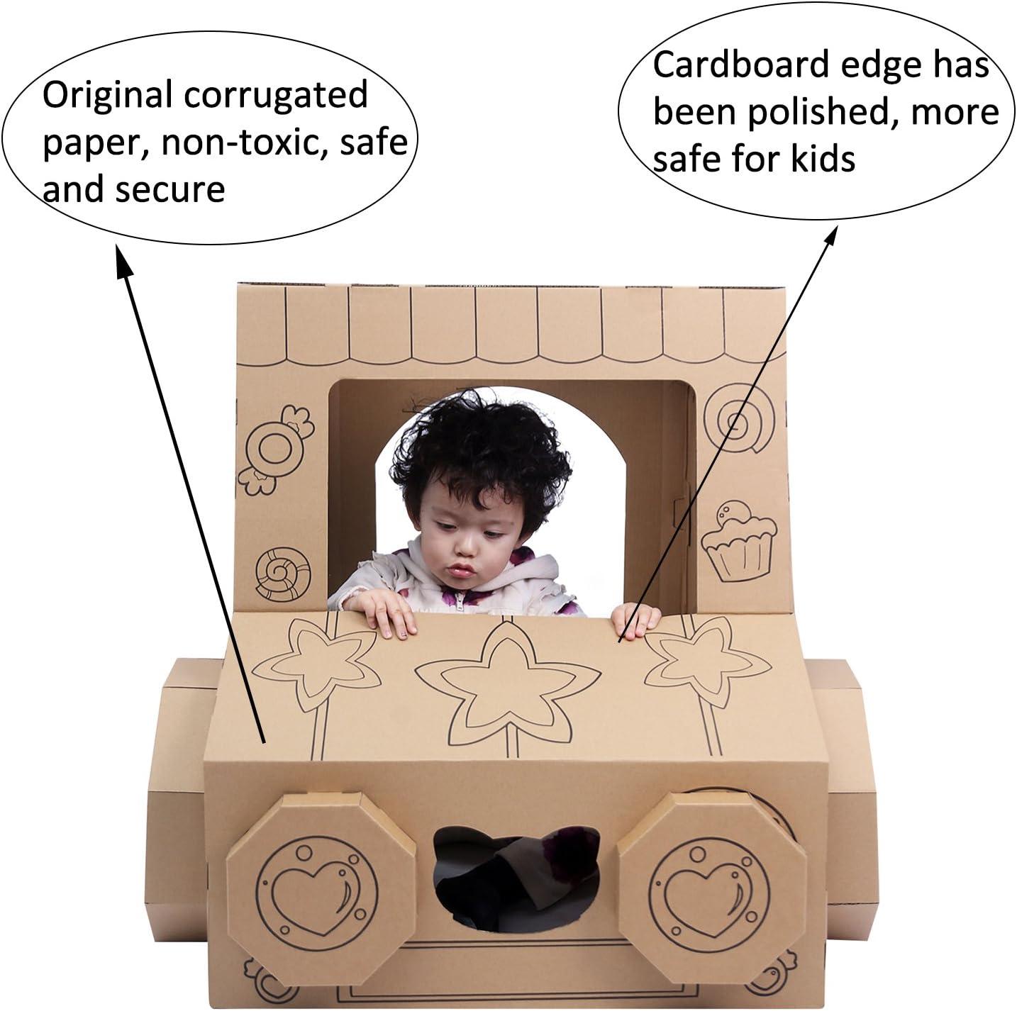 iBonny DIY Toys Indoor Playhouse Cardboard Box Car Toy Vehicle Snack Vending Machine Cardboard Houses