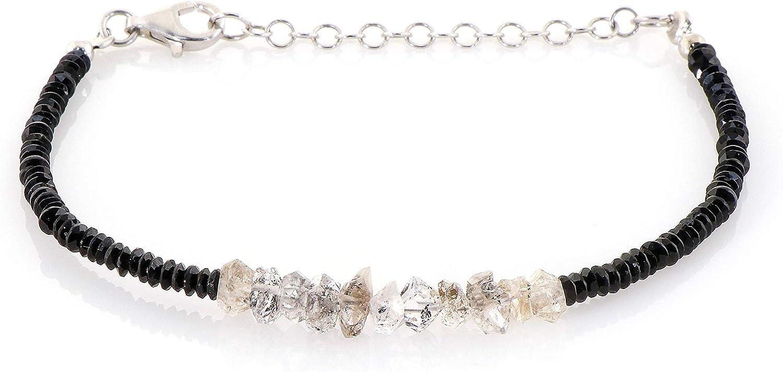 Herkimer - Pulsera de diamantes con piedras preciosas de color negro para mujer, regalo de cumpleaños