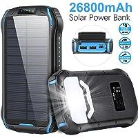 Cargador Solar 26800mAh, Solar Power Bank 15W (5V / 3A) Salida de Carga rápida Resistente al Agua con Dos Salidas USB 3…