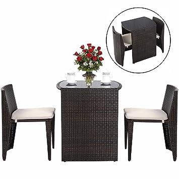 Amazonde Costway Rattanmöbel Polyrattan 3tlg Gartenmöbel Lounge