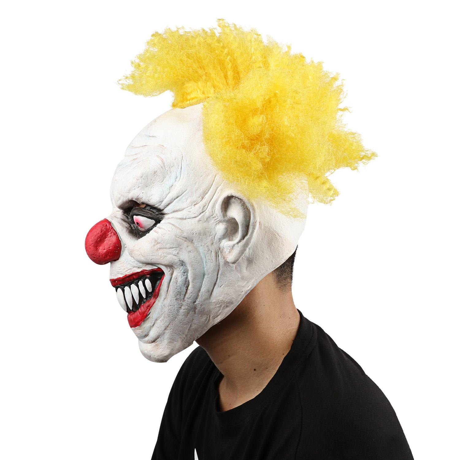 XIAO MO GU Latex Halloween Party Cosplay Face Mask Clown Costumes Mask(Yellow Hair)