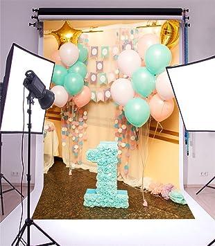 YongFoto 2,5x3m Fondos Fotograficos Feliz Primer cumpleaños Globos Banderas Flores Papel Piso mármol Interior Niñito Fondos para Fotografia Fiesta ...