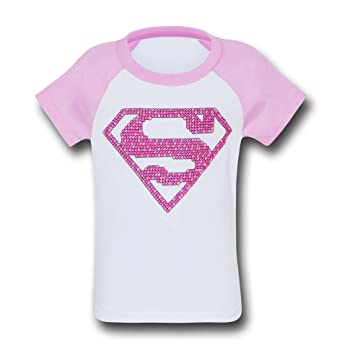 Amazon Supergirl Girls Pink Pattern Symbol T Shirt Clothing