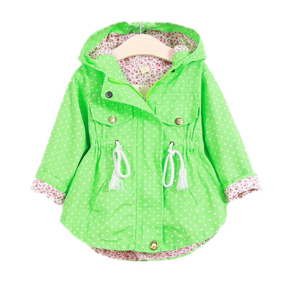 Winzik Little Baby Girls Kids Outfits Spring Autumn Polka Dot Pattern Hooded Windbreaker Jacket Casual Outerwear Coat Green)