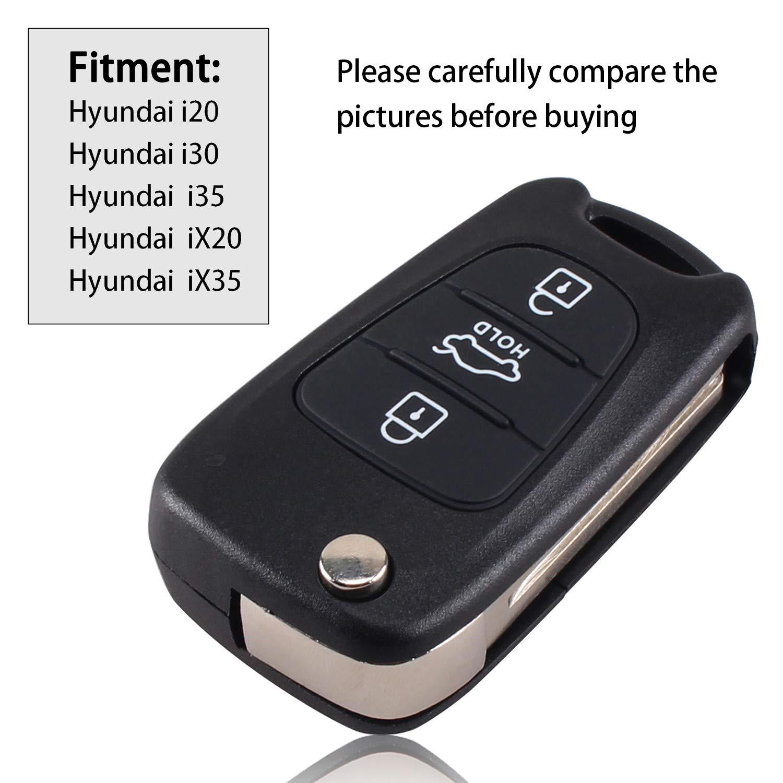 Carcasa para llave plegable con mando a distancia, de repuesto para Hyundai i20, i30, i35, iX20 e iX35