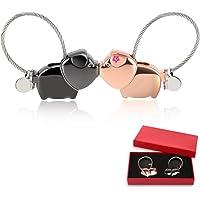 Foonii 1 Paire de Couple Porte-clés, Magnétique Détachable Keychain Baisers Porc Couple Clés Anneaux en Alliage, pour mâle et Femelle Valentin idée Cadeau (Noir et Rose Or)