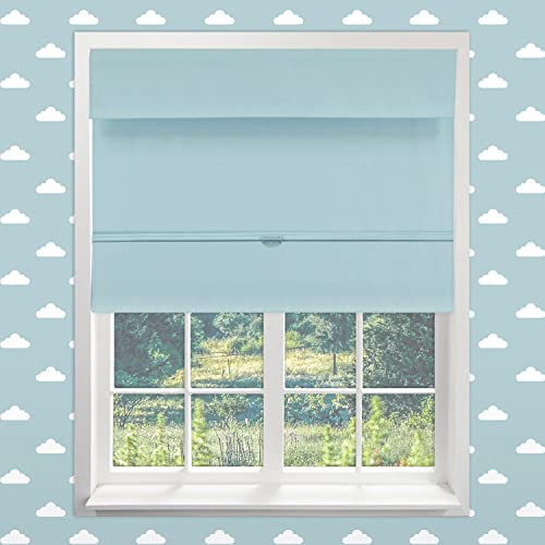 Chicology Cordless Magnetic Roman Shades Window Blind Fabric Curtain Drape, Thermal, Room Darkening – Baby Blue, 48 W X 64 H