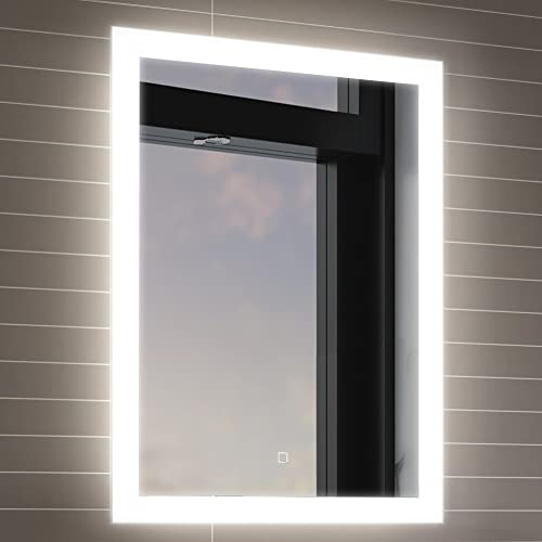 500 x 700 mm illuminated led bathroom mirror with light vanity light sensor demister bathroom - Bathroom Mirror With Lights