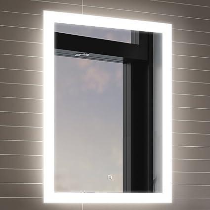 Soak Espejo de baño de 500 x 700mm con iluminación LED, sensor de movimiento y