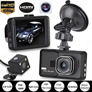 Damark HD 1080P Dual Lens Camera Car DVR Vehicle Video Recorder Rear Dash Cam G-sensor Night Vision Dash Camera DVR