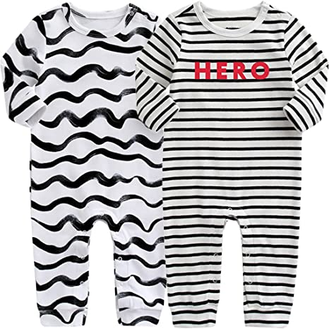 Minizone Pijama para Bebés Algodón Peleles Niñas Niños Mameluco Monos Manga Larga, Paquete de 2