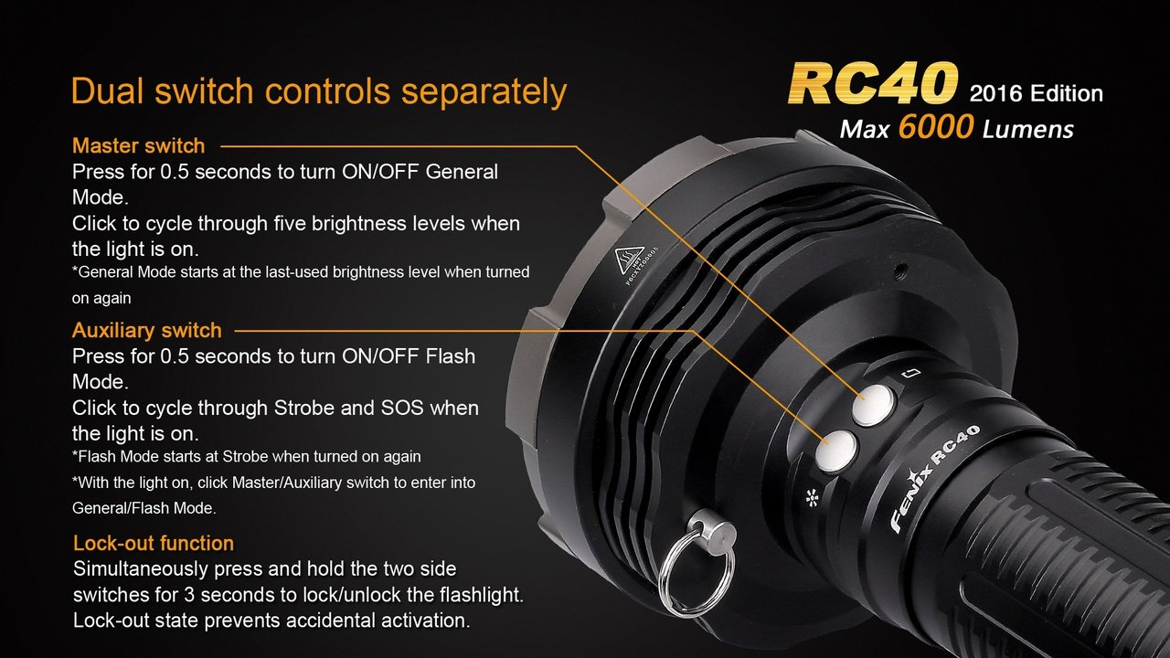 FENIX RC40 Rechargeable 6000 Lumen Cree XM-L2 U2 LED Flashlight/ Searchlight with Car / Home charger, Fenix CL05 Lip light and EdisonBright AAA battery by EdisonBright (Image #8)