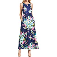 WLLW Women's Sleeveles Round Neck Floral Print Pleated Bohemian Beach Maxi Dress