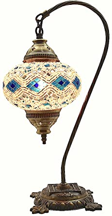 Table Lamp,Swan Neck,Lamp Shade,Arabian Mosaic Lamps, Moroccan Lantern,