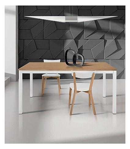 Spazio Casa Tavolo moderno allungabile bianco e rovere - 140 x 80 ...