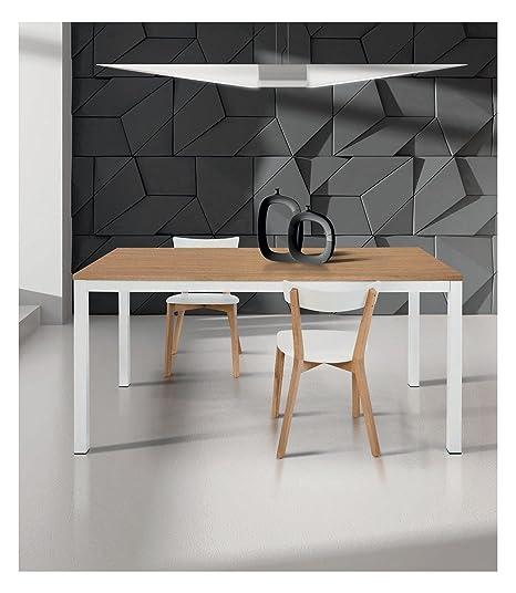 Tavolo 100 X 70 Allungabile.Spazio Casa Tavolo Moderno Allungabile Bianco E Rovere 110 X 70
