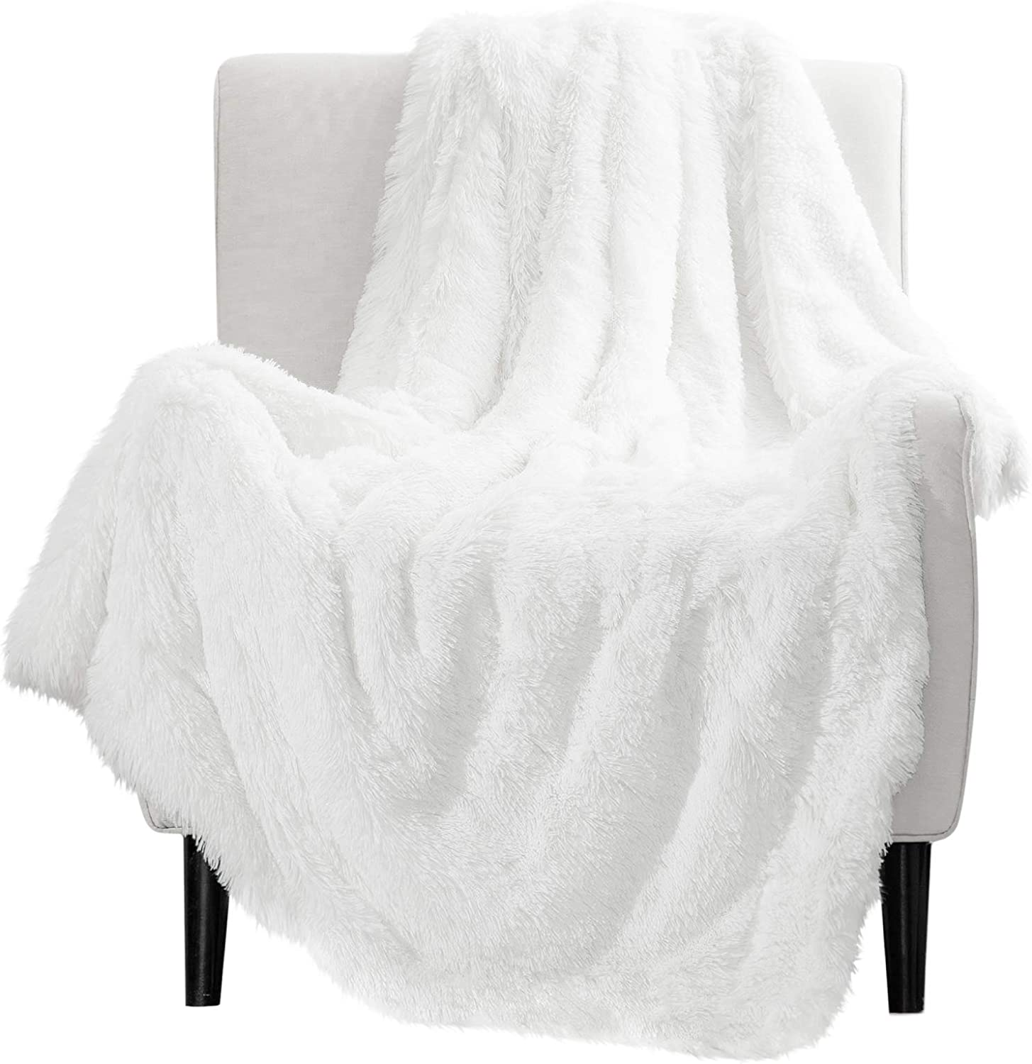 Bedsure Soft Fuzzy Faux Fur Shaggy Blanket Throw Reversible Sherpa Fleece Shag T