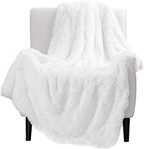 Bedsure Super Soft Fuzzy Faux Fur Shaggy Blanket Throw Reversible Sherpa Fleece Shag Throw Blanket for Sofa, Couch and Bed - Warm Thick Fluffy Blanket as Gift,Plush Furry Throw (50x60 inches, White)