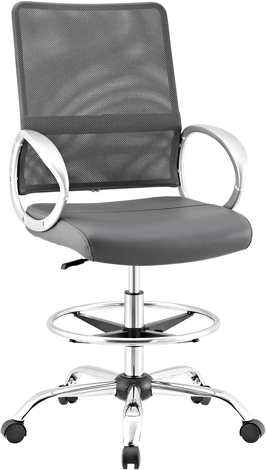 Modway Edge Office Drafting Chair With Feet Ring Mesh Back And Black Leatherette Seat Home Office Desk Chairs Home Office Furniture