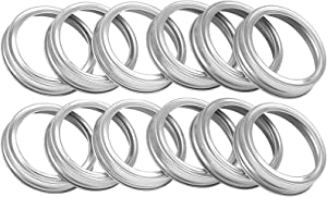 Canning Rings for mason jars, Mason Jar Lids Bands Rings for canning, Regular mouth, 12 pack Metal Rings Split-type Lids Screw Bands(12pc,Silver)