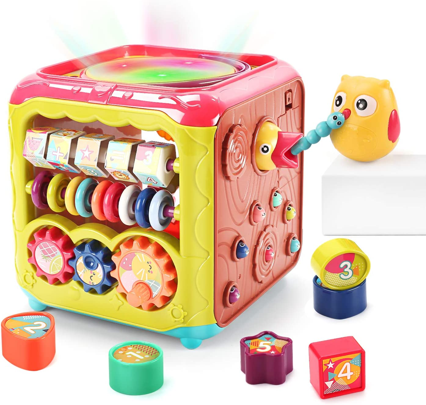 CUTE STONE Baby Activity Cube Toy,6 in 1 Multi-Functional Learning Cube Toys with Music /& Light,Shape Sorter,Play Drum,Gears,Baby Early Educational Play Cube Centers Gifts for Infant Kids Boys Girls