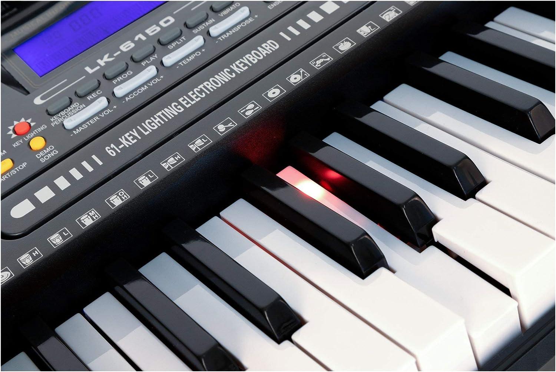 McGrey LK-6150 - Juego de 61 teclas (teclado electrónico con 61 teclas, teclas luminosas y altavoz, incluye escuela musical, ideal para estudiantes y ...