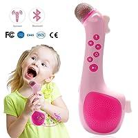 Termichy Mikrofon für Kinder, Wireless Mitsingen Mikrofon, Tragbares Karaoke Zuhause KTV mit Lautsprecher Zum Abspielen und Mitsingen von Musik (Rosa)