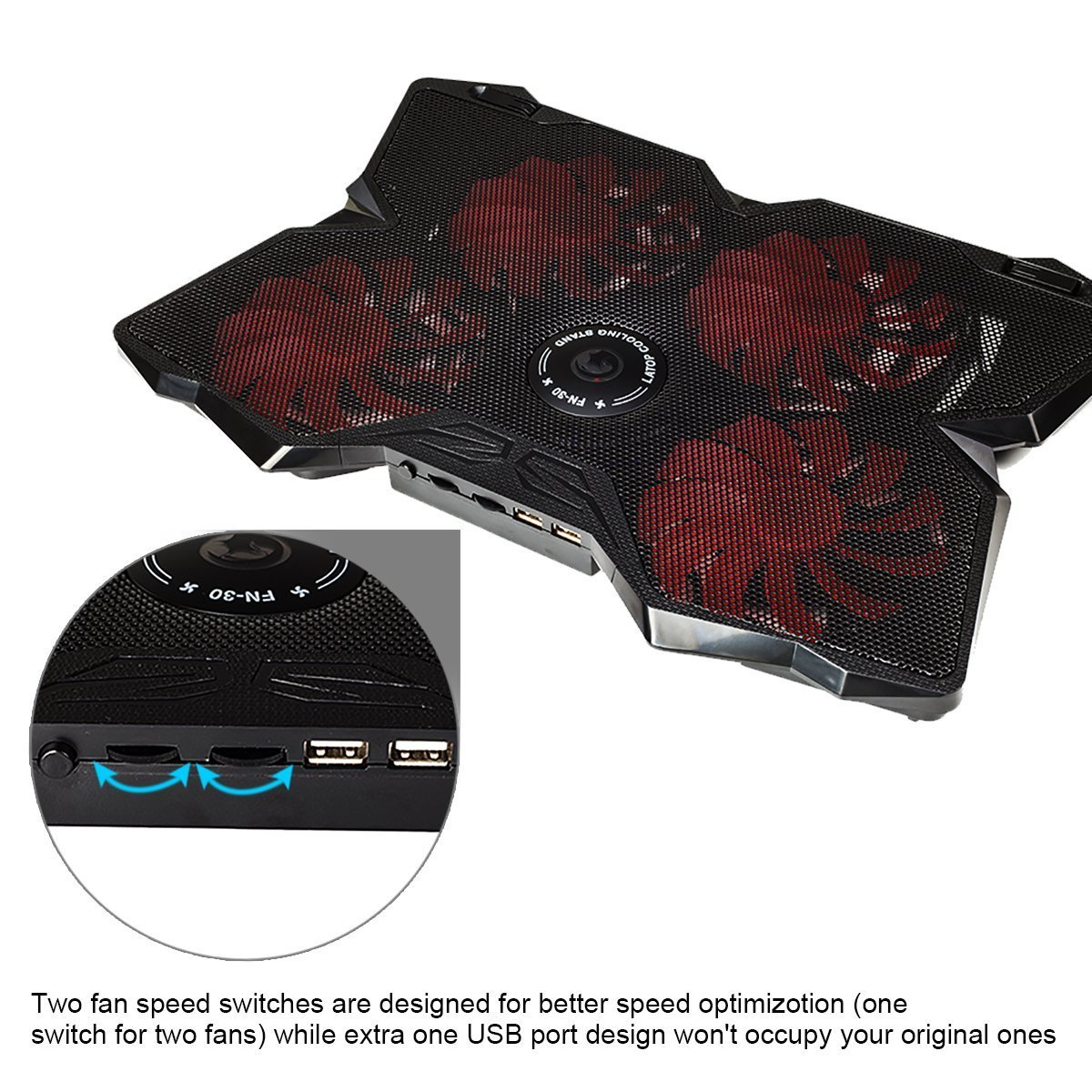 Marvo FN-30 Cooling Pad for 15.6 - 17 Inch Laptops with Four 120mm Fans at 1200 RPM ,Red by MARVO (Image #4)