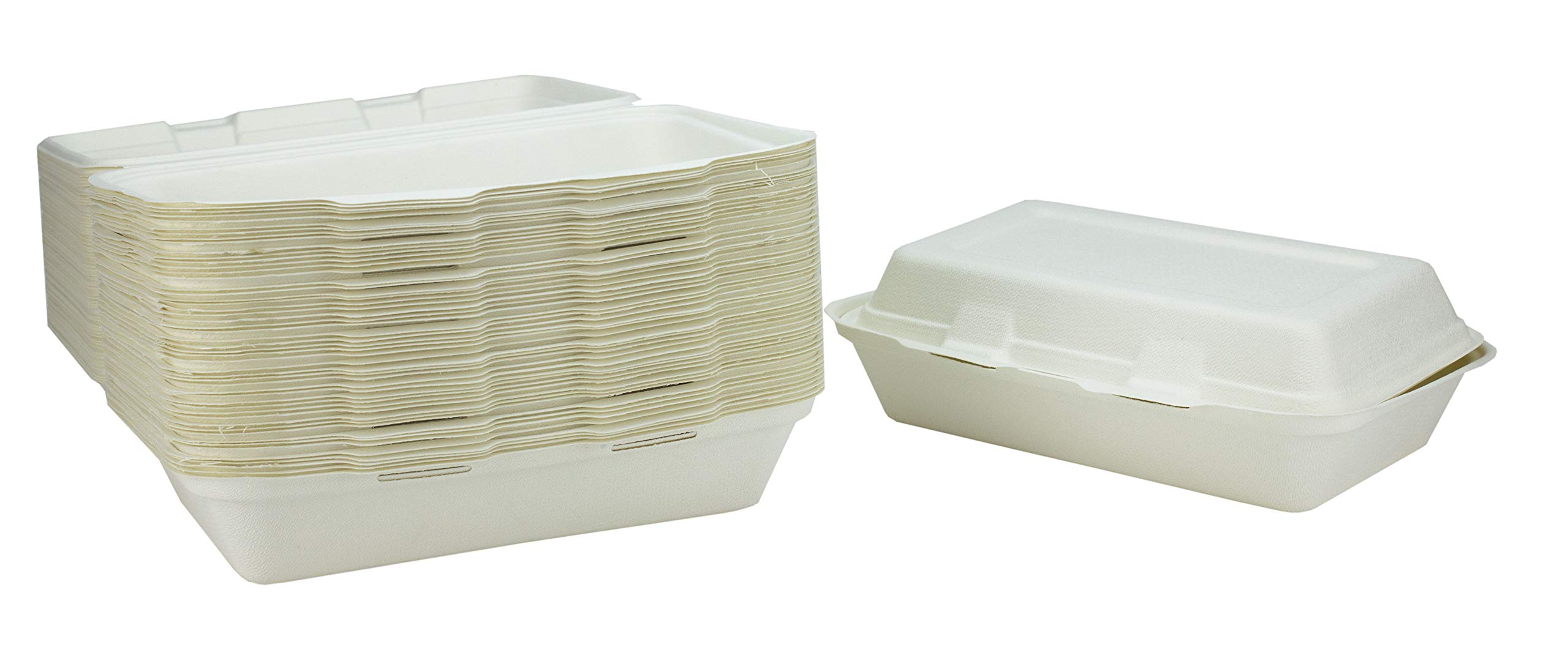 Bagasse 1 Compartment Take Away Box - 165 x 240 x 80mm - Set of 50 - Super Rigid Biodegradable, Compostable, and Recyclable Disposable Menu Boxes - Made from Natural Sugar Cane Pulp
