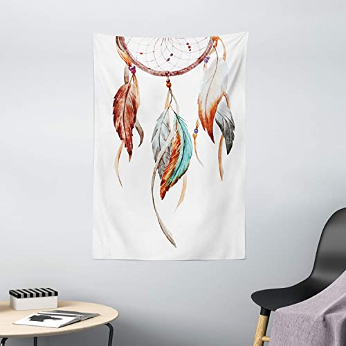 Ambesonne Feather Tapestry, Watercolor Dream Catcher Inspirations Traditional, Wall Hanging for Bedroom Living Room Dorm Decor, 40 X 60 , Sienna Seafoam