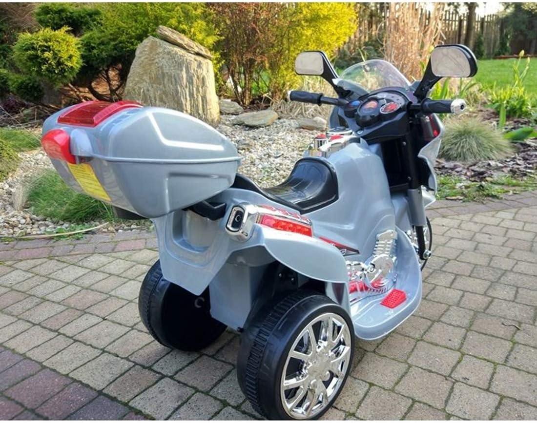 Sound Kindermotorrad elektrisch Topcase fit4form Kinder Elektro Trike Elektromotorrad 6 V Silver m Licht u