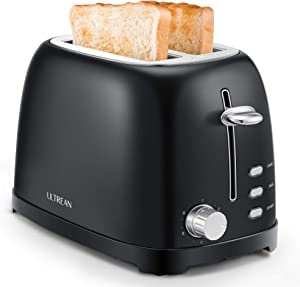 Ultrean Toaster 2 Slice with Extra-Wide Slot, Stainless Steel Toaster with Removable Crumb Tray, Small Toaster with 6 Browning Settings, Cancel, Bagel, Deforest Functions, 825 W, Black
