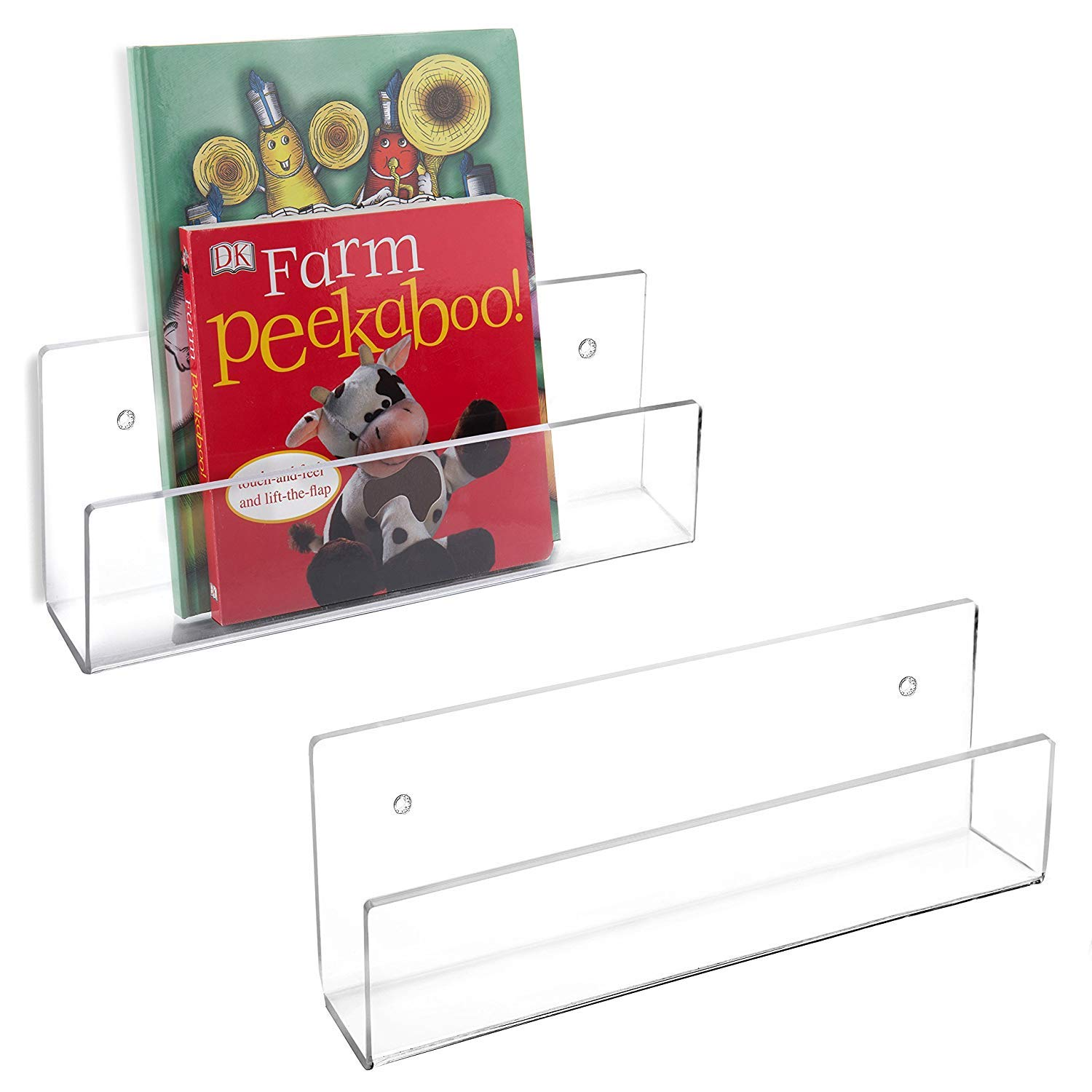 68911 Wall Mounted Clear Acrylic Magazine Brochure Display Holder Rack Set Of 2 Wallmounted Magaizne Bookstand Folders Rack Bookshelf Hanging Literature Hardware Racks Travel Motorhome Organizational