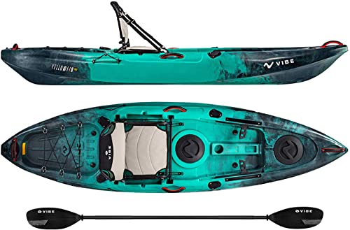 Vibe Kayaks Yellowfin 100 10 Foot Angler Recreational Sit On Top Light Weight Fishing Kayak Caribbean Blue
