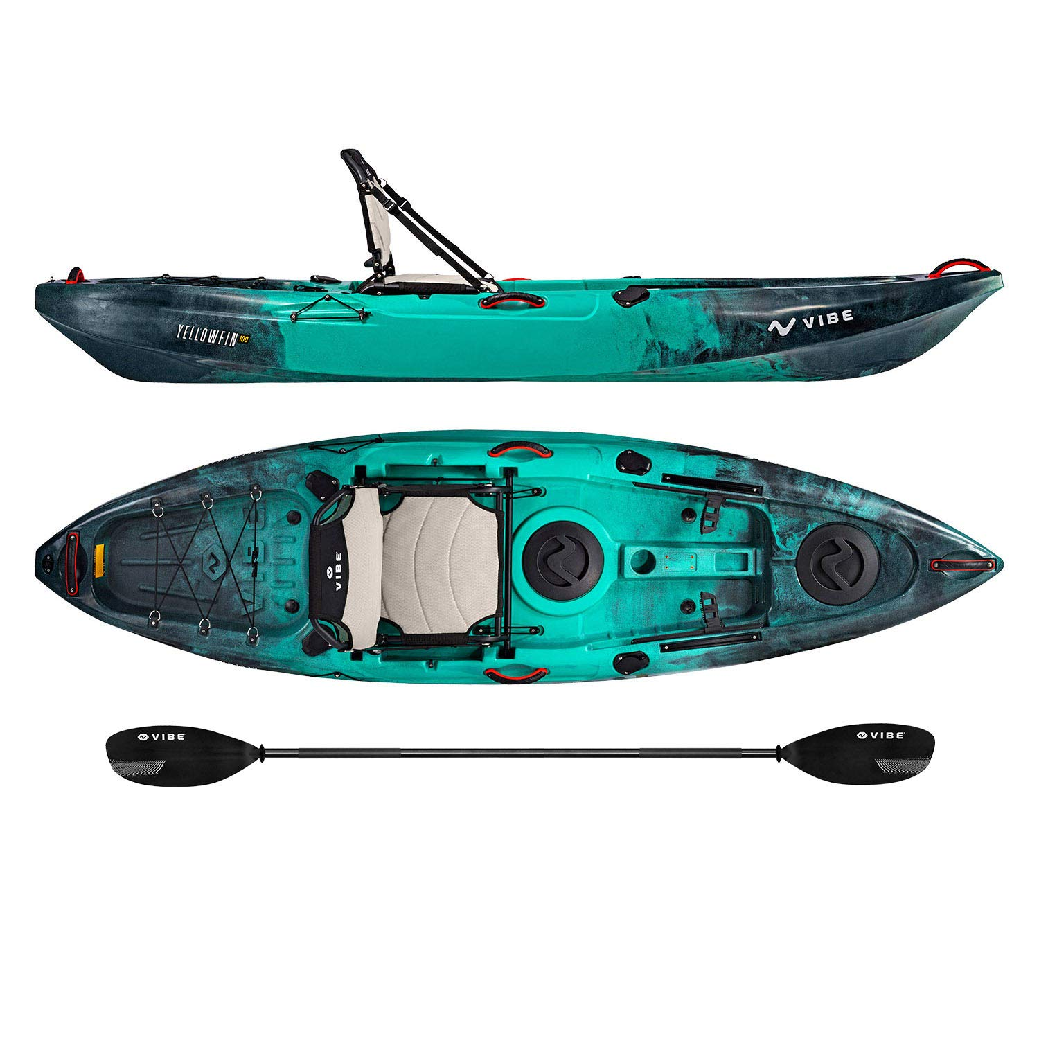 Vibe Kayaks Yellowfin 100 10 Foot Angler Recreational Sit On Top Light Weight Fishing Kayak (Caribbean Blue) with Paddle and Adjustable Hero Comfort Seat - Journey Paddle by Vibe Kayaks